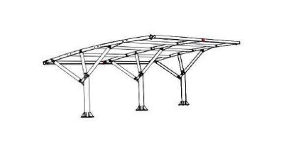 Disegno pensiline tettoie auto modulari