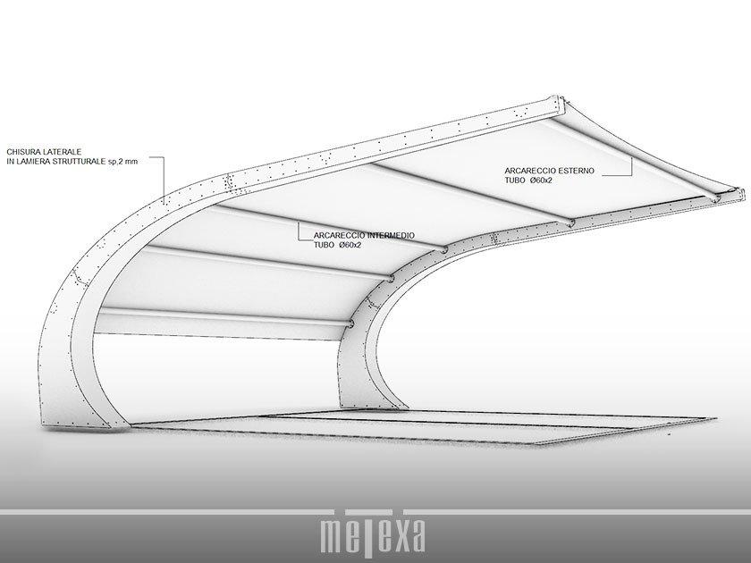 dettagli struttura tettoia per auto ombreggiante