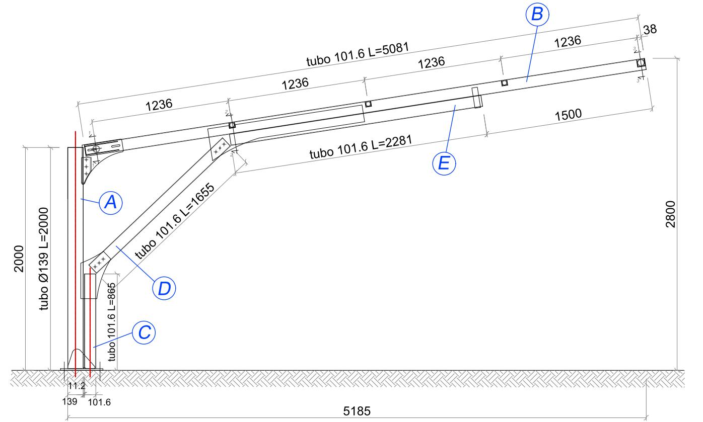 disegno tecnico pensilina auto ombreggiante e antigrandine mx12