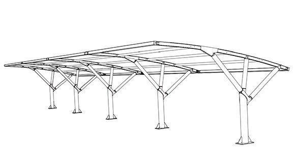 Disegno tettoia auto modulare MX19ST