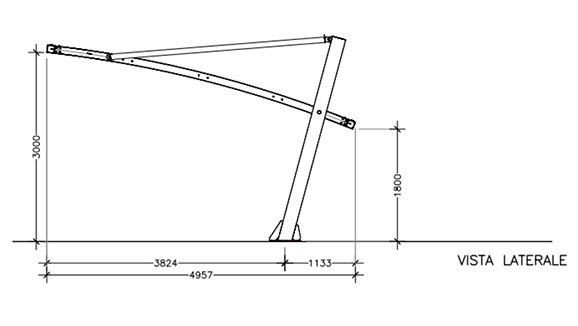 dimensioni standard copertura a sbalzo Metexa