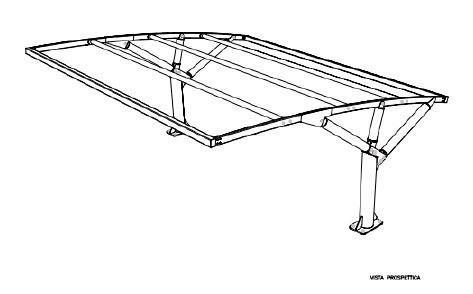 Disegno prospettico tettoie auto ribassate
